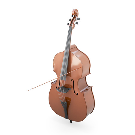 contrabass: Contrabass clipping path. 3d render image. Music instruments series. Stock Photo
