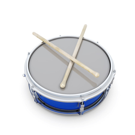 snare: Drum with drumsticks on a white bacakground. 3d render image.