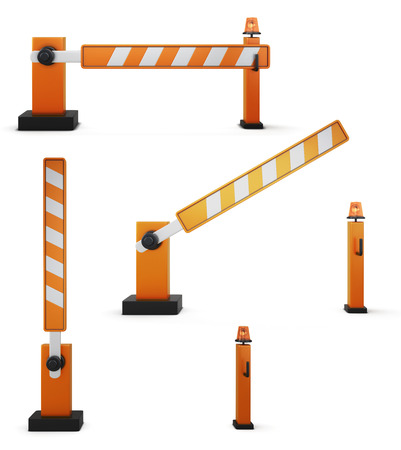set of illustrations of the barrier isolated on white background. 3d render image.