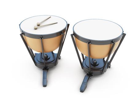 djembe: Timpani isolated on white background. 3d illustration. Music instruments series. Stock Photo