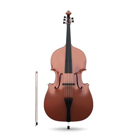 Contrabass isolated isolated on white background. Frony view. Music instruments series. 3d illustration.