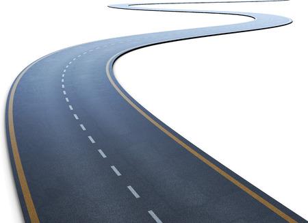 curvas: El camino con una marca que va a una distancia en un blanco. 3d ilustración. Foto de archivo