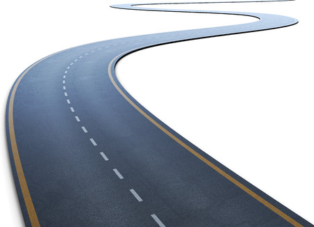 curve: The road with a marking going to a distance on a white. 3d illustration.
