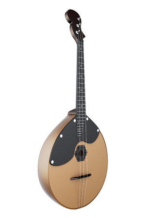 workmanship: Domra isolated on white background. Stringed Musical Instruments. 3d render image. Music instruments series.