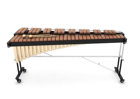 Xylofoon geïsoleerd op een witte achtergrond. 3d illustratie. Muziekinstrumenten serie. Stockfoto
