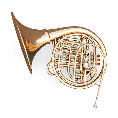 白い背景にフレンチ ホルン。3 d のレンダリング イメージです。音楽は楽器シリーズです。