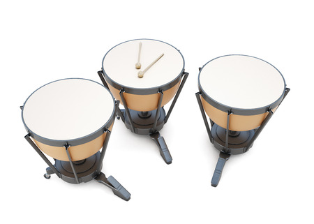 Timpani on a white. 3d render image. Music instruments series.