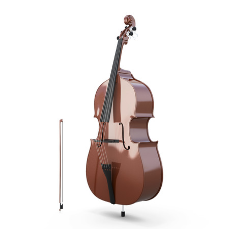 Contrabass, double bass. Classical music instrument isolated on white background. Music instrument series. 3d illustration.