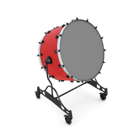 bass drum: Bass drum on a white background. 3d illustration. Percussion instrument. Stock Photo