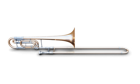 trombone: Trombone isolated on white background. 3d render image. Music instruments series. Stock Photo