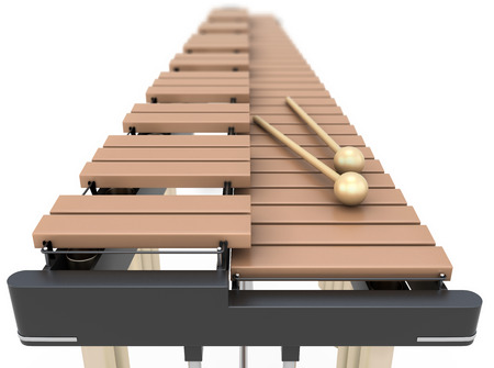 xylophone: Xylophone close-up on a white background. 3d illustration. Stock Photo