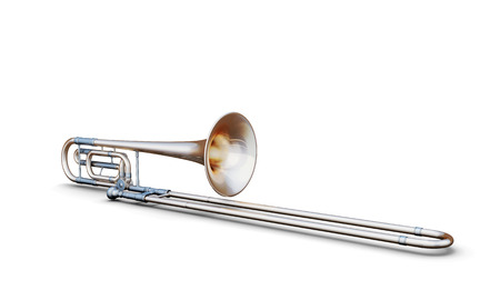 trombon: Trombone aislado en el fondo blanco. 3d imagen. Instrumento musical. Foto de archivo
