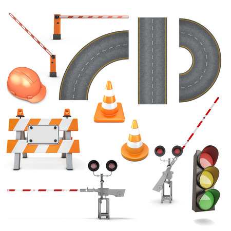warning signs: Set of road works on a white background. Helmet, gate, fence, cone, traffic lights, road isolated on white. 3d illustration.