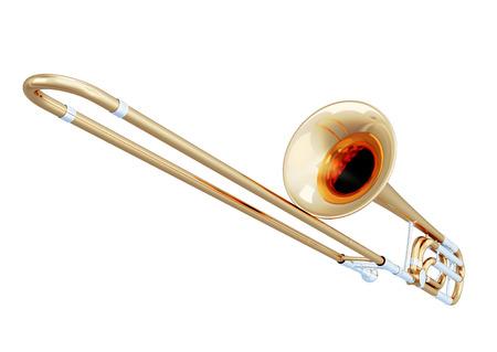 trombon: Tromb�n close-up aislados sobre fondo blanco. 2d ilustraci�n.