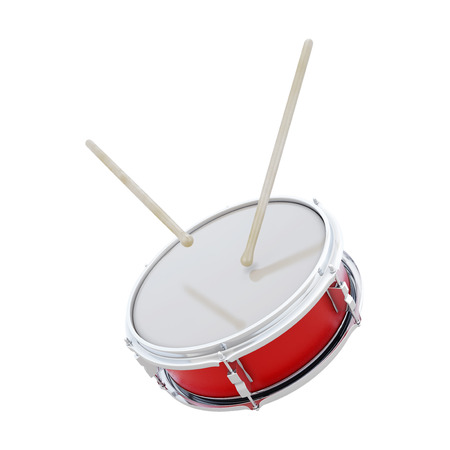 Red drum with sticks isolated on white background. 3d render image.