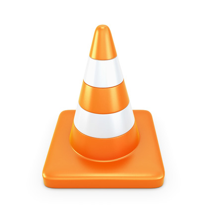 traffic pylon: Road cone isolated on white background. 3d illustration. Stock Photo
