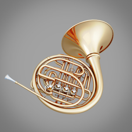 french horn: French horn on a gray background. 3d illustration. Music instrument series. Stock Photo