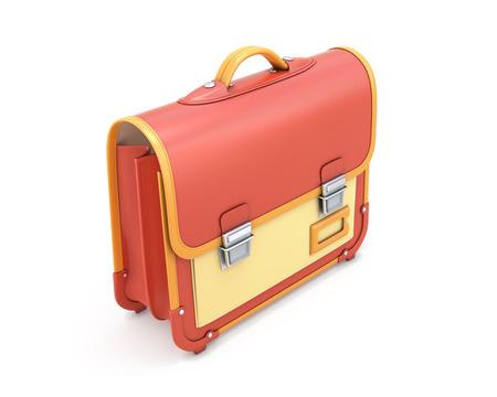 satchel: School bag with handle isolated on white background. Knapsack. 3d illustration satchel.