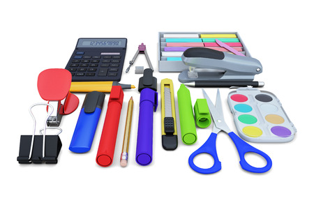 office supplies: Set of office supplies isolated on white background. 3d illustration. Stock Photo
