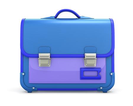 School bag front view isolated on white background. Knapsack. 3d illustration satchel.