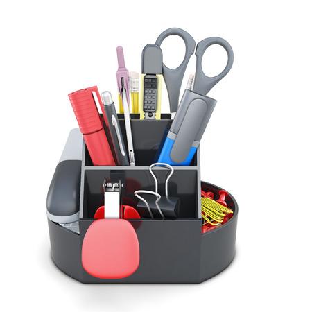 pen holder: Organizer with stationery isolated on white background. 3d illustration.