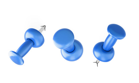 white pushpin: Blue pushpin with different slopes isolated on white background. 3d illustration.