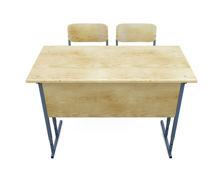 two chairs: School desk with two chairs isolated on white background. 3d illustration.