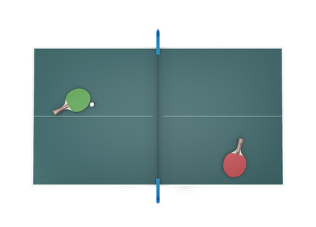 Tennis table top view and two tennis racket with ball on it. 3d illustration.