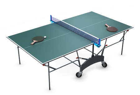 Table tennis with tennis rackets and a ball on it isolated on white background. 3d illustration. Archivio Fotografico