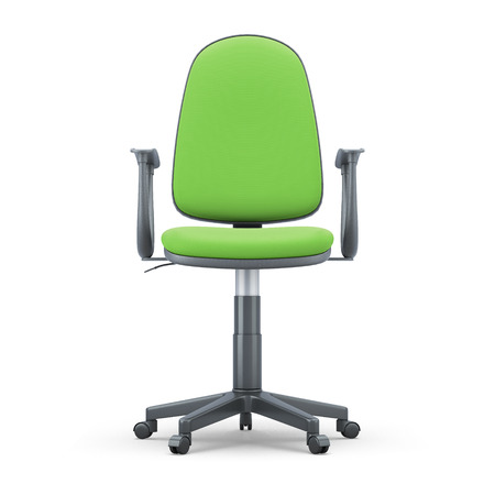 Green Office chair isolated on white background. 3d illustration. Green Office chair front view.
