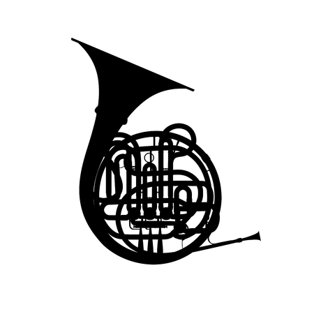 french horn: Silhouette of french horn on a white. Stock Photo