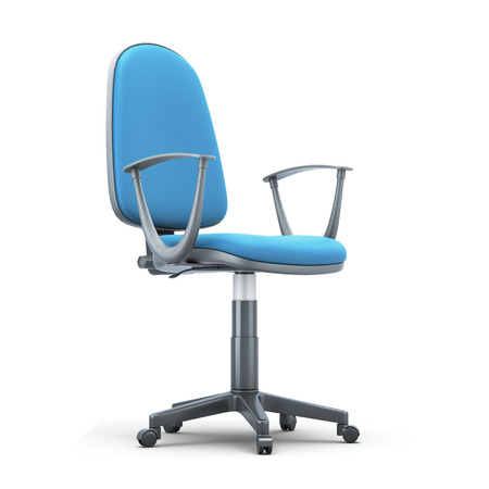 white trim: Office chair with a blue trim on a white background. 3d illustration. Stock Photo