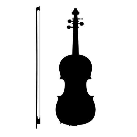 cello: Silhouette of violin with the bow on a white.
