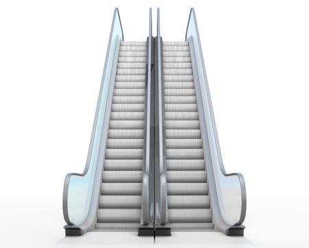 Escalator isolated on white background. Front view. 3d.