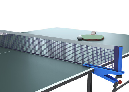 tischtennis: Tischtennis mit Schläger auf dem Tisch und Gitter Nahaufnahme