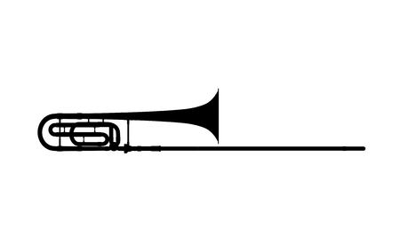 trombone: Silhouette of trombone on a white background.