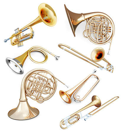 brass: Set of wind instruments isolated on white background. 3d illustration.