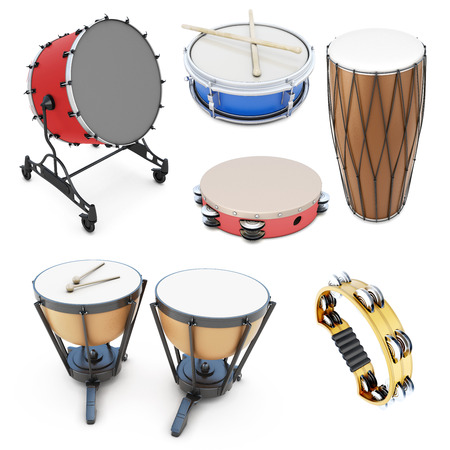Set of percussion instruments isolated on white background. 3d illustration. Drums on a white.