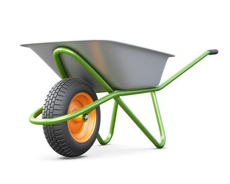 harrow: Wheelbarrow close-up on a white. 3d render image.