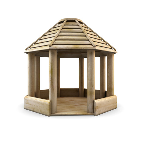 arbour: Wooden arbour isolated on white background. 3d illustration. wooden gazebo. Stock Photo