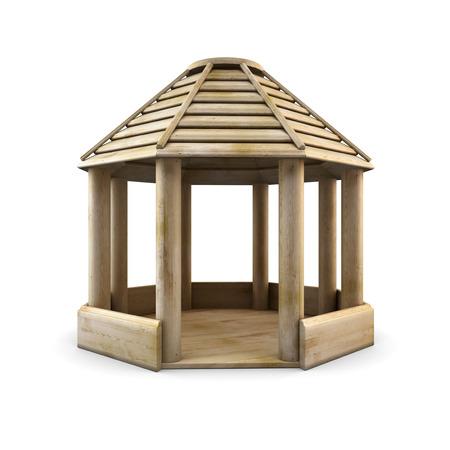 entrance arbor: Wooden arbour isolated on white background. 3d illustration. wooden gazebo. Stock Photo