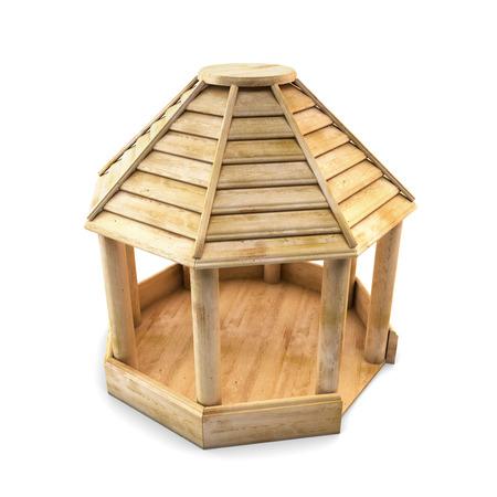 Garden wooden arbor for rest isolated on white background. 3d illustration. Stock Photo