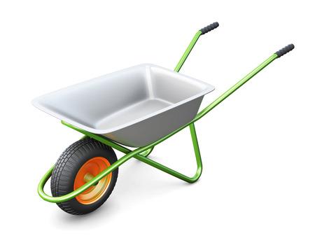 hauling: Wheelbarrows isolated on white background. 3d illustration.