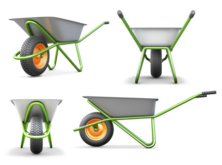 backyard work: Wheelbarrow from different angles isolated on white background. 3d illustration.