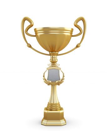 trofeo: trofeo de la copa de oro sobre un fondo blanco. 3d imagen.