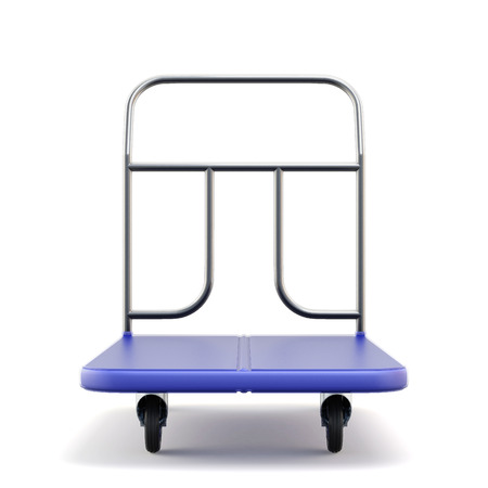 mart: Baggage trolley front view on a white background. 3d.