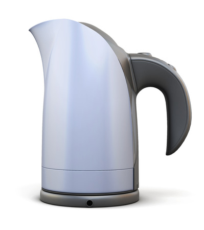 electric kettle: Electric kettle side view isolated on white background. 3d illustration.
