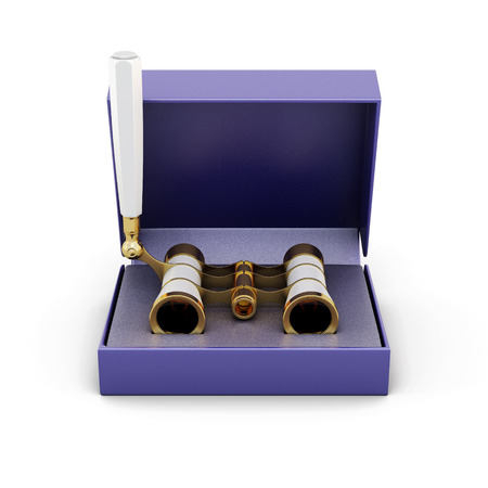 opera: Opera glasses in the box isolated on white background. 3d illustration. Stock Photo