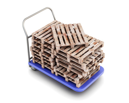 sacktruck: Transport trolley with pallets isolated on white background. 3d illustration. Stock Photo