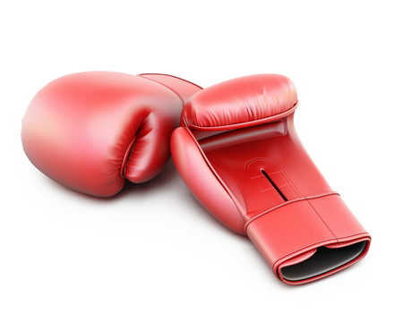 muay: Red boxing gloves isolated  on white background. 3d illustration. Stock Photo